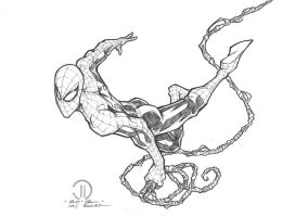 Spiderman Swinging penciles by JoeyVazquez