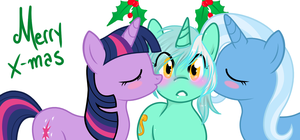 Twi Lyra and Trixie under the mistletoe by VaderPL