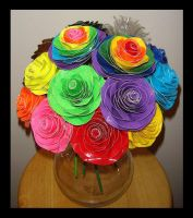 Basic and Neon Coloured Roses by DuckTapeBandit