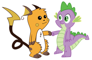 Spike and Raichu Brohoof by chinchillax
