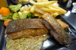 Grilled Salmon with Creamy Mushroom Sauce by nosugarjustanger