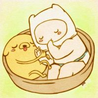 Baby Finn and Jake from Adventure Time by xxlostxkittenxx