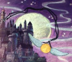 Golden Snitch Necklace by TashaAkaTachi