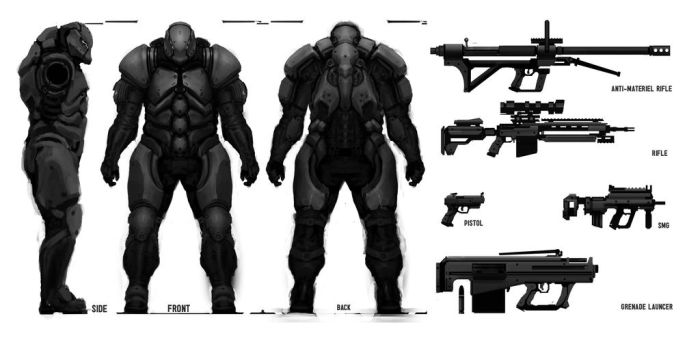 Soldier concept and weapons by Leevitron