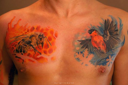 Bee and Bullfinch by grimmy3d