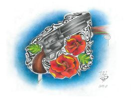 Gun and two roses by JKL-Designs