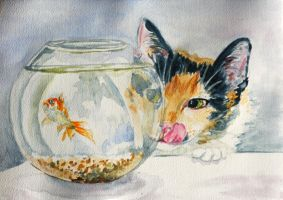 Lusia and gold fish by danuta50