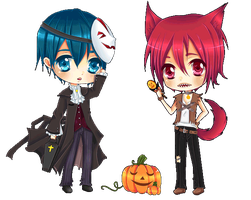 FREE! Halloween Haruka x Rin Chibi (Free to use!) by Tish-Marie