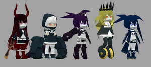 black rock shooter characters papercraft by goncalo-neto