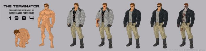 1984 Terminator T800 Battle Damage Stages by BongzBerry