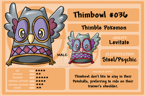PKMN 036 Thimbowl Male by spiderliing666