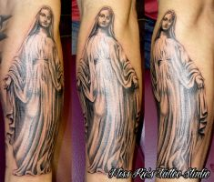 Mary statue tattoo by onksy