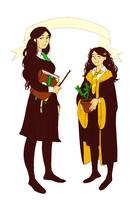 hogwarts AU morwen and rian by jubah
