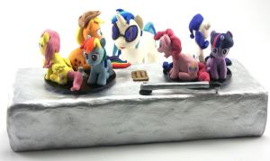 Mane 6 and Dj Pon-3 with working turntable sculptu by MadPonyScientist