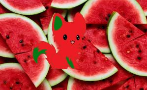Watermelon kitty by dragonlover786