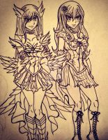 Fairy scout juvia and erza WIP. by charswarrenxo