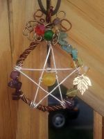 Ameythst Citrine and Emerald Pentacle by WyckedDreamsDesigns