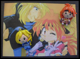 Chibi-Charms: Lina and Gourry by MandyPandaa