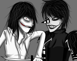 Laughing Jack and Jeff the killer  by Demonic-stickfigures