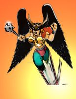 Hawkgirl in color by wlk-creations