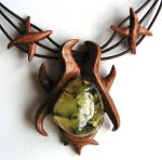 Necklace - Amber , Wood 1351 by AmberSculpture