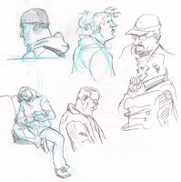 doodles of people on the bus by mistermuck