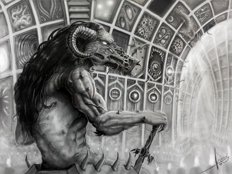 Keeper of darkness in his halls of madness by HrvojeSilic