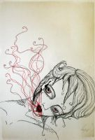 she exhales blood -  sketch by LucyJOrchard