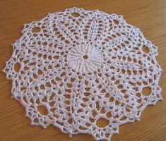 9 Inch Round Narrow Pineapple Doily in White by doilydeas