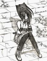 OC: Rei Kuramoto and The old stone staircase. by RedW0lf777sg