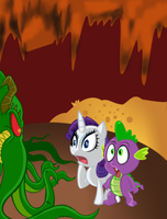 rarity and spike meet chutulu by megadrivesonic