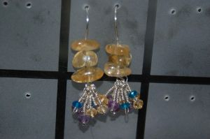 Quartz, Citrine, Amethyst, and Apatite Earrings by saourealis