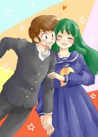 Ataru and Lum by Aly434