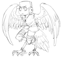 TF2: Harpy scout lineart by DarkLitria
