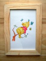Disney's Winnie the Pooh in ink framed by steveabbo