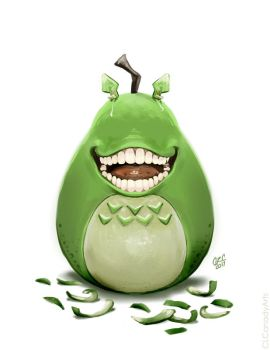 Biting Pear Totoro by CLCanadyArts