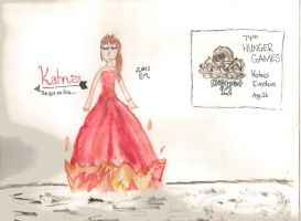 Katniss Everdeen THG, Completely WaterColoured by lizzy905