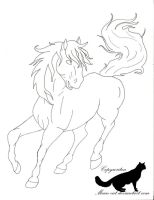 Horse line art 01 by Mean-cat