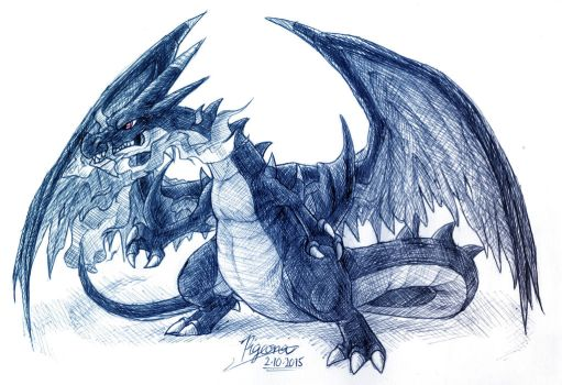 Sketchtober 2: Mega Charizard revised by Pigeona