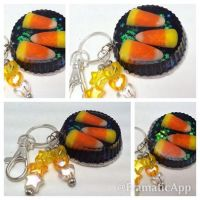 Candy Corn Halloween Keychain by TiellaNicole