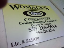 Womacks Construction coroplast sign by Hannele-Kahkonen