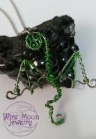 Handmade Green and Silver Wire Wrapped Dragon by WireMoonJewelry