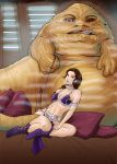 Slave Padme and Jabba the Hutt in the Sail Barge by HeySerdna
