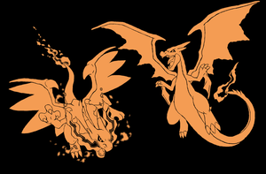 Mega Charizard X and Y (One Color) by Runenkatze