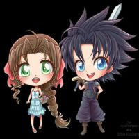 - Zack and Aerith Chibis Blinking/Flirting! - by hyacinthess