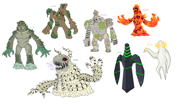 Creature doodles: golems by JWNutz