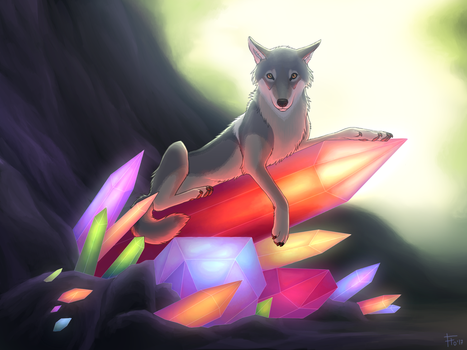 Wolf and Crystals by flowerewolf