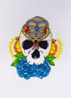 Skull, snake, roses and all them good things! by Metroo777