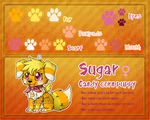 Reference sheet: Sugar (candy corn puppy) by Veemonsito