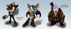 Sonic Age: Shadow, Rouge and Rotor by Zephyros-Phoenix